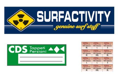 etichette adesive in raso